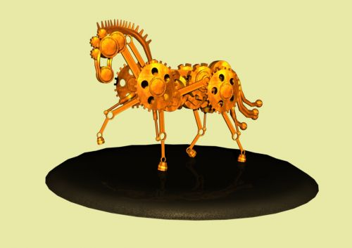 horse clockwork steampunk