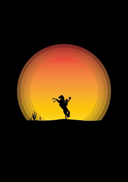 horse cowboy sunset