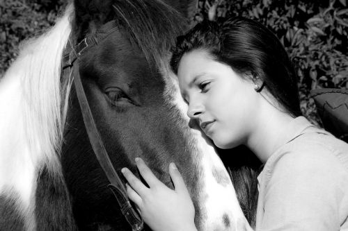 horse woman horse rural