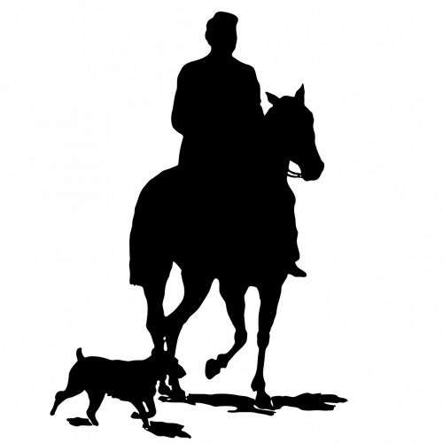 horse dog man