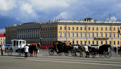 Horse Carts On Palace Square