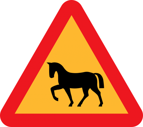 horse crossing roadsign road sign