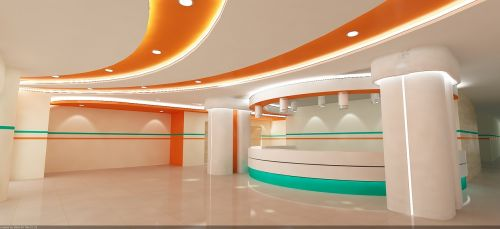 hospital reception 3d-max
