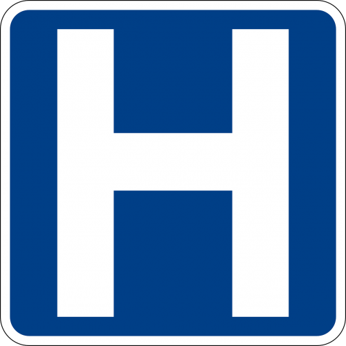 hospital signs road