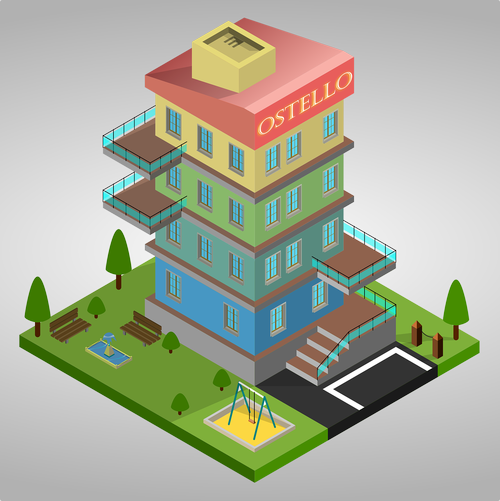 hostel  3d  isometric
