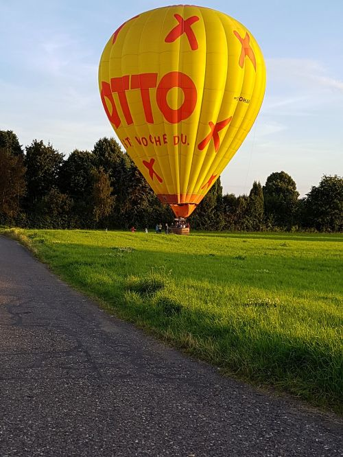 hot air balloon landed field