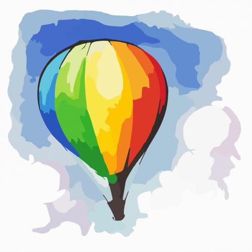 hot air balloon rainbow flow