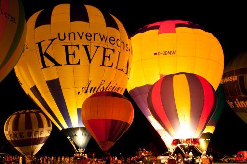 hot air balloon sky glow