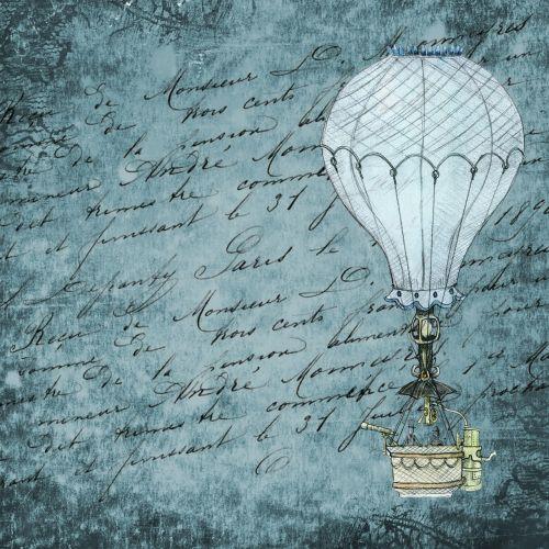 hot air balloon blue background