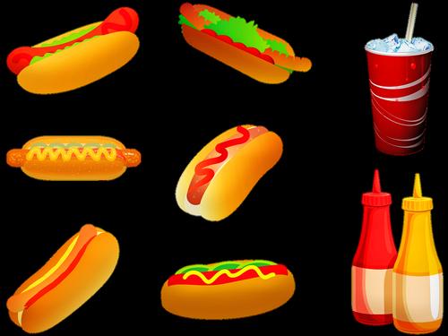 hot dogs  drink  soda