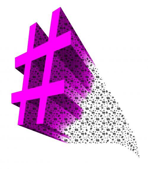 Hot Pink 3D Hashtag Symbol