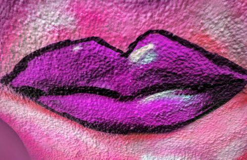 Hot Pink Lips Graffiti
