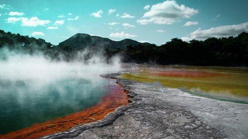 hot source  volcano  volcanic