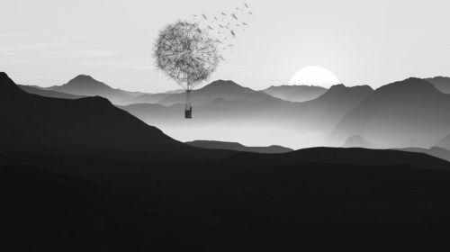 Hotair Balloon Fantasy Mountains