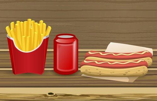 hotdog  sausage  fried potatoes