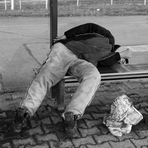 homeless man sleeping