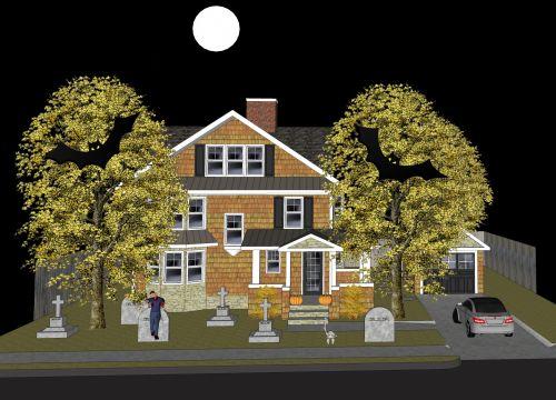 Haunting, namas, 2, du, šikšnosparniai, kapas & nbsp, kiemas, mėnulis, kapas, kapas, kapinės, palaidoti, Halloween, tradicija, juoda, vaiduoklis, haunting namai