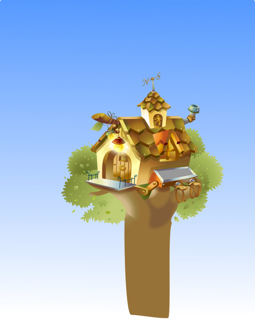 house playing tree