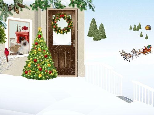 namas,kalnas,sniegas,kraštovaizdis,karūna,Kalėdos,eglė,langas,paukštis,katė,balkonas,rampa,laiptinė,Kalėdų Senelis,kablys,rennes,žiemos peizažas,žiema,kraštovaizdžio sniegas