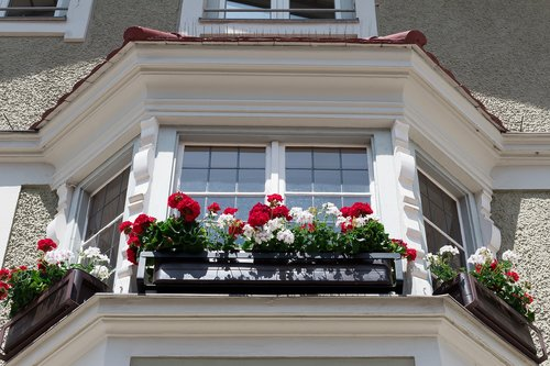 house  bay window  floral decorations