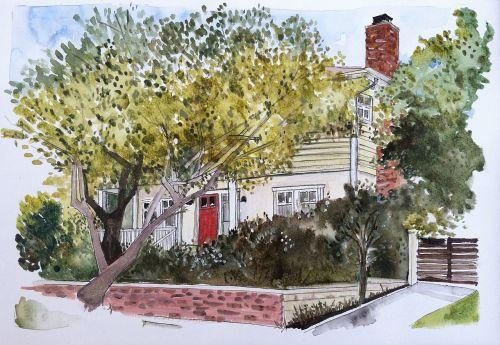 house yellow trees