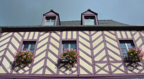 house old timber-framed windows flowered village