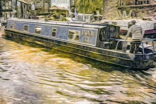 Houseboat On River, Oil Painting