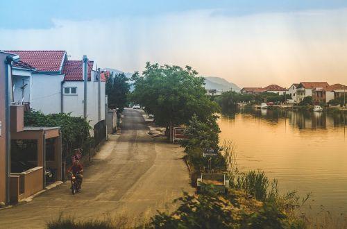 houses buildings river