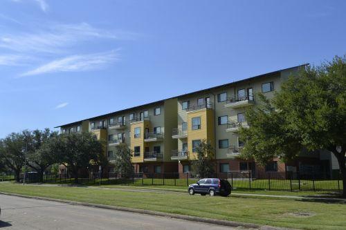 houston texas apartment complex grass blue sky