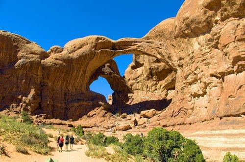 huge double arch  sandstone  utah