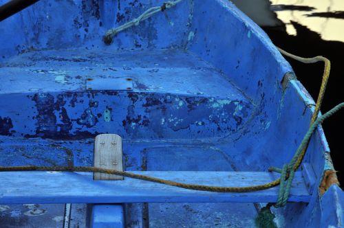 Hull Of Blue Rowboat