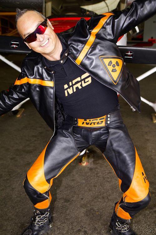 human man leather suit