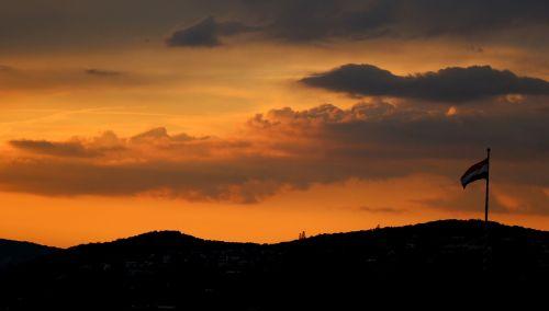 hungarian flag sunset clouds