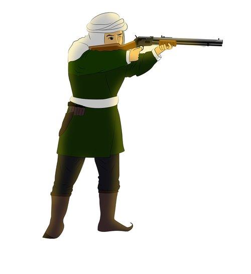 hunter  man  shotgun