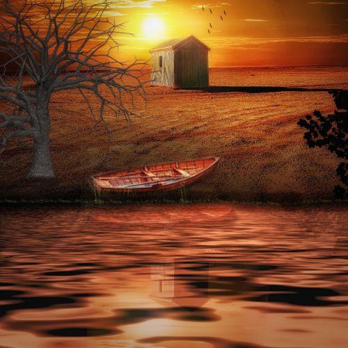 hut sunset sky