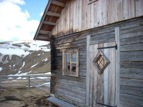 hut wood mountains