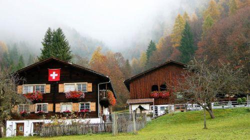 hut wooden alpine village