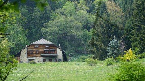 hut  alm  meadow