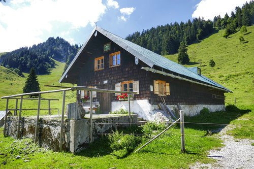 hut  alpine hut  nature
