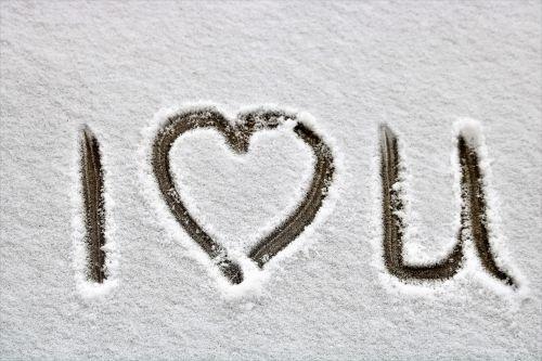 I Heart U Written In Snow