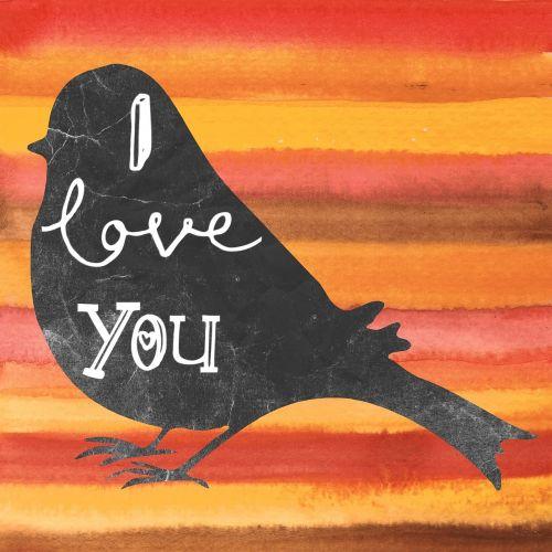 i love you bird watercolor