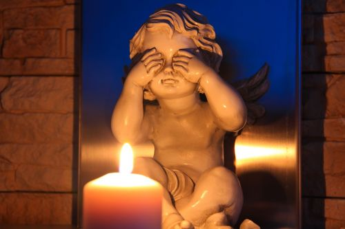 i see no evil angel candle
