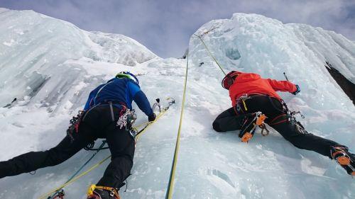 ice climbers climb ice