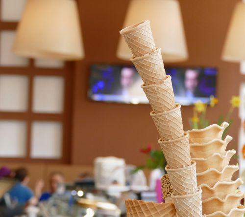 ice cream parlour ice cream cone waffles