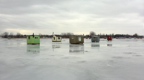 ice fishing huts ice fishing lake