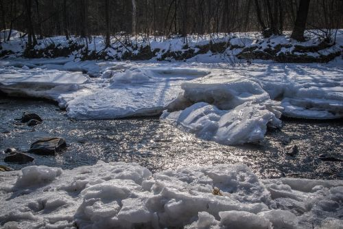 ice floes river river basin