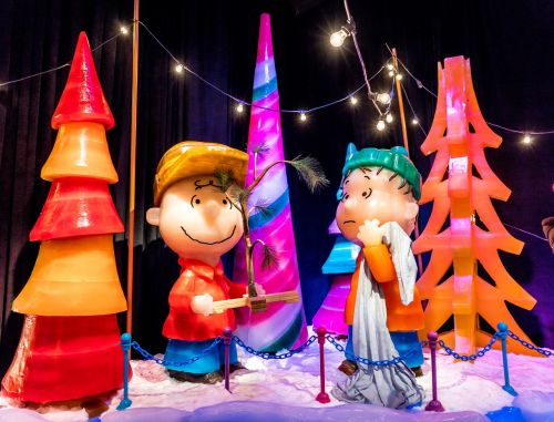 ice sculpture charlie brown christmas trees