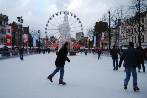 ice skating skating slopes ferris wheel