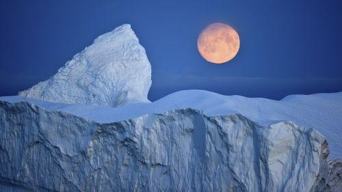 iceberg moon arctic