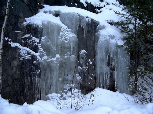 icefall frozen waterfall winter